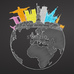 Travel to World. Sketch on Chalkboard Stock Vector