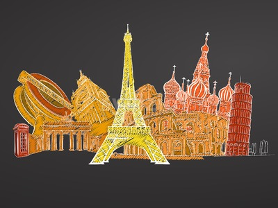 Travel to Europe. Sketches on Chalkboard Stock Vector