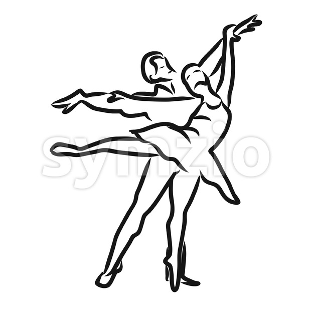 Graphic sketch woman and man dancers. Classical balett. Hand-drawn Vector isolated drawing.