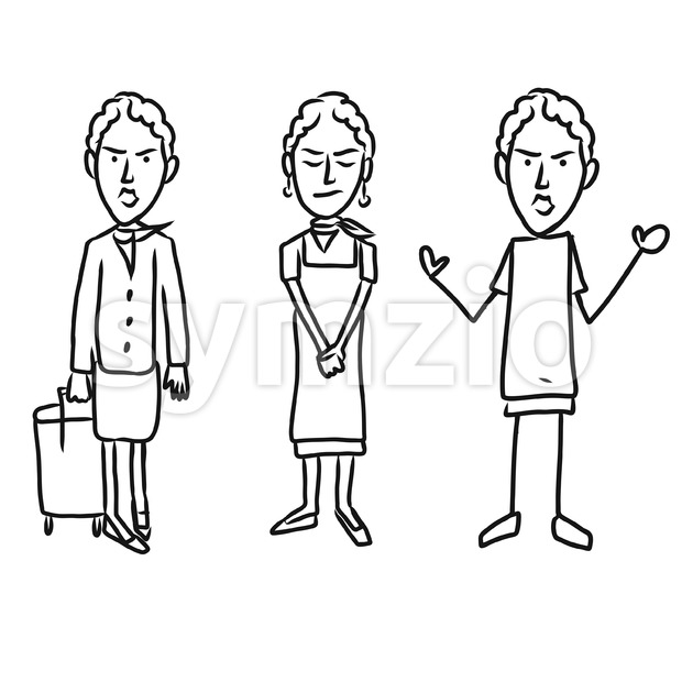 Three emotional woman characters Stock Vector