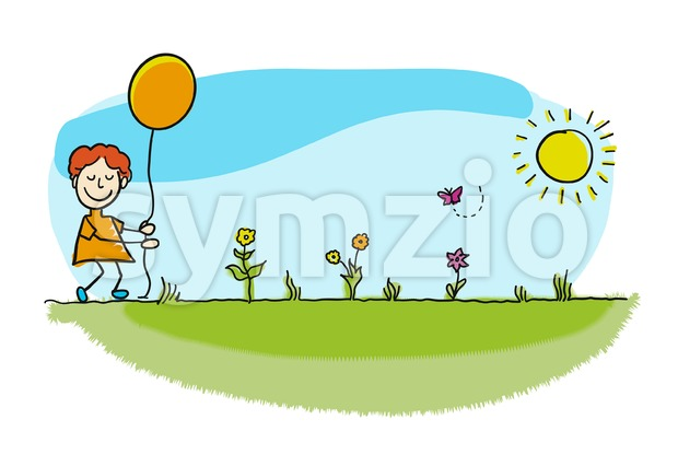 Pretty stickman boy walking with balloon. Hand-drawn sketches doodles in beautiful outfits and costumes. Modern vector illustration isolated in cartoon ...