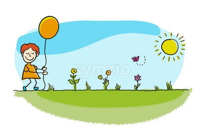 Pretty stickman boy walking with balloon Stock Vector