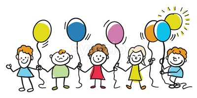 Happy kids with balloons together Stock Vector