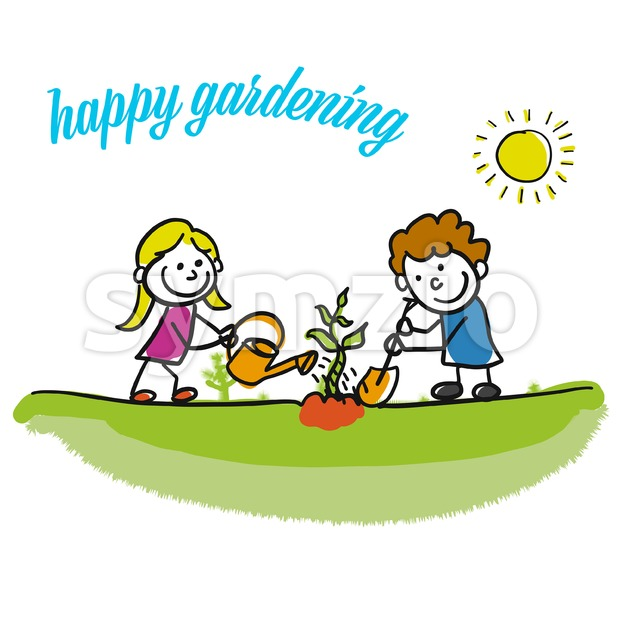 Happy gardening stickman kids Stock Vector