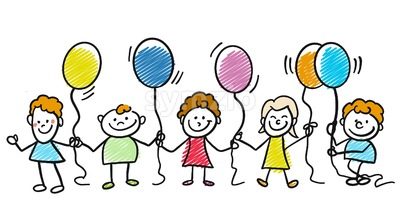 Happy doodle kids with balloons Stock Vector