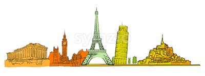 Famous colored landmarks set Stock Vector