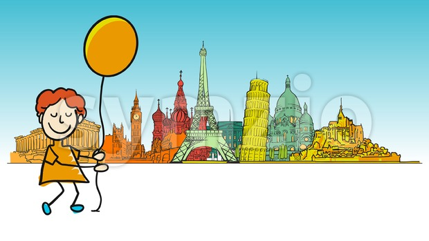 Boy traveling in europe Stock Vector