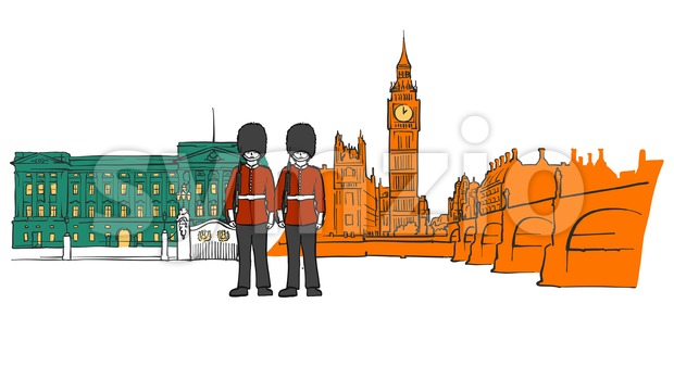 London royal palace and big ben sketch Stock Vector