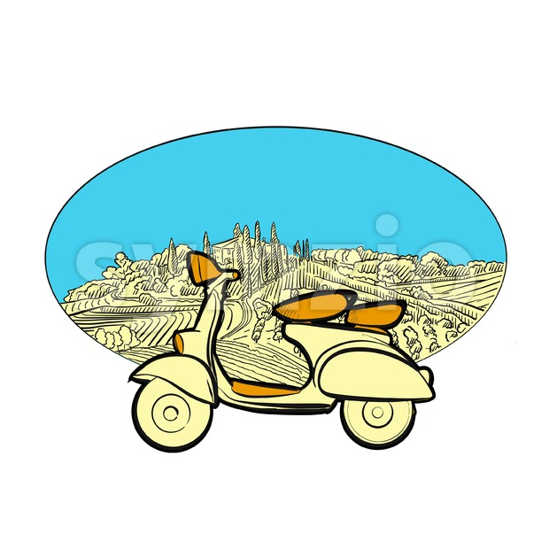 Vineyard travel icon with scooter Stock Vector