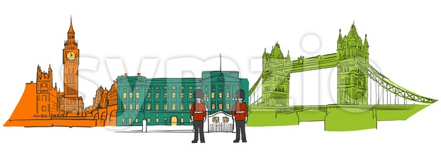 London famous icons banner. Hand-drawn sketches in beautiful outlines and colors. Modern vector illustration.