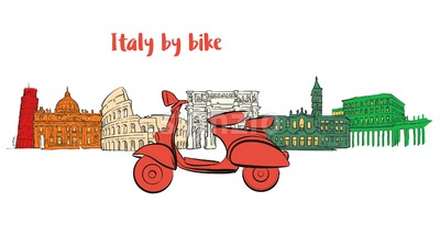 Italy famous travel icons with scooter Stock Vector