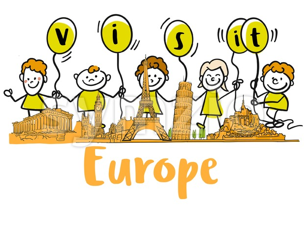 Visit Europe Banner with famous landmarks. Hand-drawn sketches in beautiful outlines and colors. Modern vector illustration.