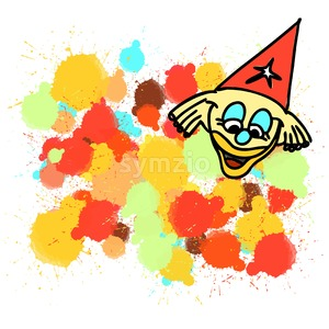 Clown and colorful splashes of drops painted Stock Vector