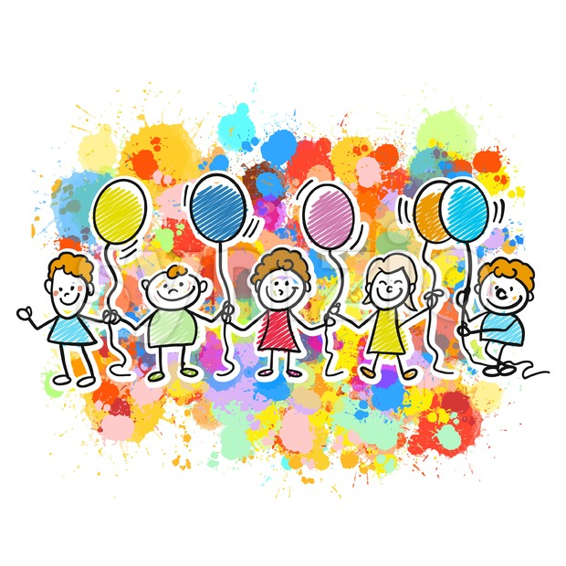Happy kids together with balloons Stock Vector