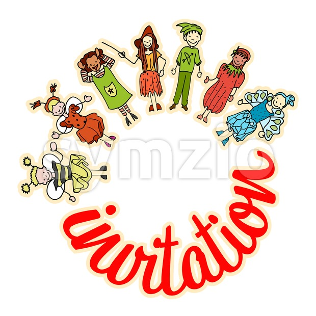 Kids celebrate carnival together, Invitation Stock Vector
