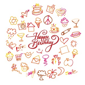 Happy birthday lettering and doodles Stock Vector