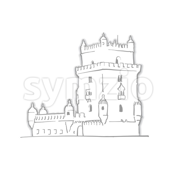 Lisbon Portugal Belem Tower Sketch Stock Vector