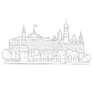 Moscow Kremlin Landmark Sketch Stock Vector