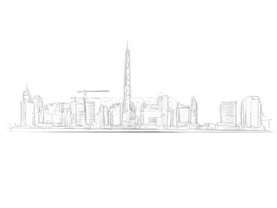 Dubai Skyline Landmark Sketch Stock Vector