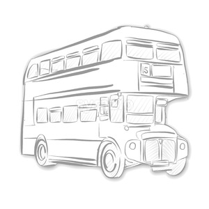 London Bus Black and White Sketch Stock Vector