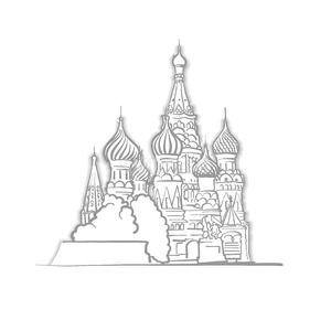 Moscow Saint Basils Cathedral Sketch Stock Vector