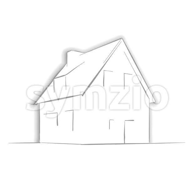 Little House Drawing by Hand Stock Vector