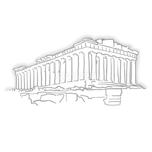 Greece Acropolis Temple Sketch Stock Vector