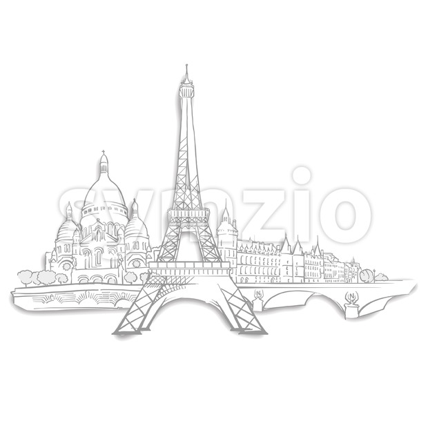 Paris Landmarks Sketches Stock Vector
