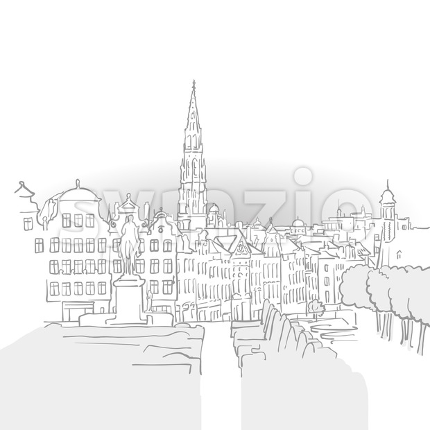 Brussels Famous Landmark Sketch Stock Vector