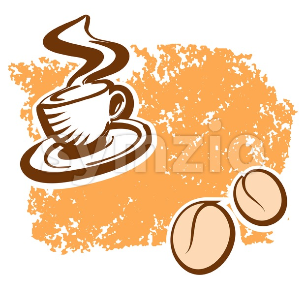 Brown Coffee Cup and Beans Sketch Stock Vector