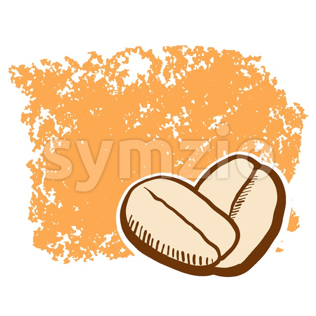 Coffee Beans with Emty Space Sketch Stock Vector