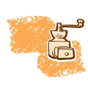Coffee Grinder and Empty Space Sketch Stock Vector