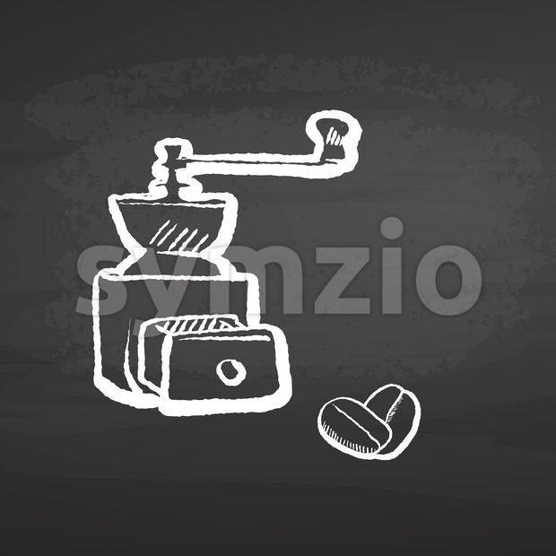 Coffee Grinder Chalkboard Sketch. Concept Vector Artwork with copy Space. Ideal for Food Price Labeling and Poster Layouts.