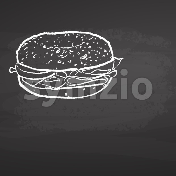 Bagel Poster Chalkboard Sketch. Concept Vector Artwork with copy Space. Ideal for Food Price Labeling and Poster Layouts.