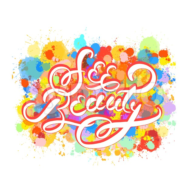 See beauty word hand lettering Stock Vector