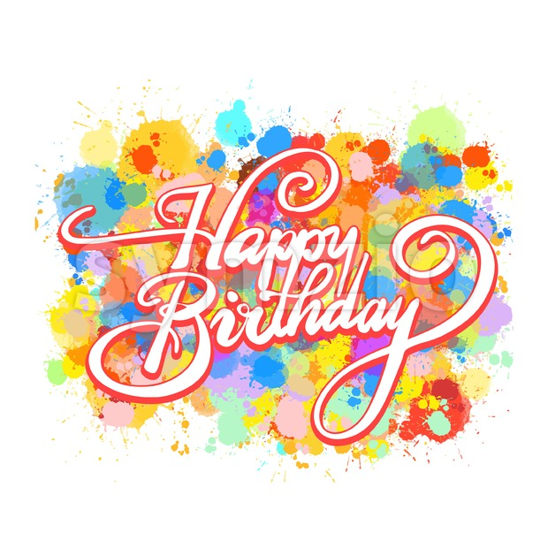 Happy Birthday word hand lettering. Colorful Vector Artwork Concept. Ready for Poster Print and Greeting Card Design.