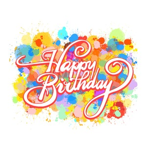 Happy Birthday word hand lettering Stock Vector