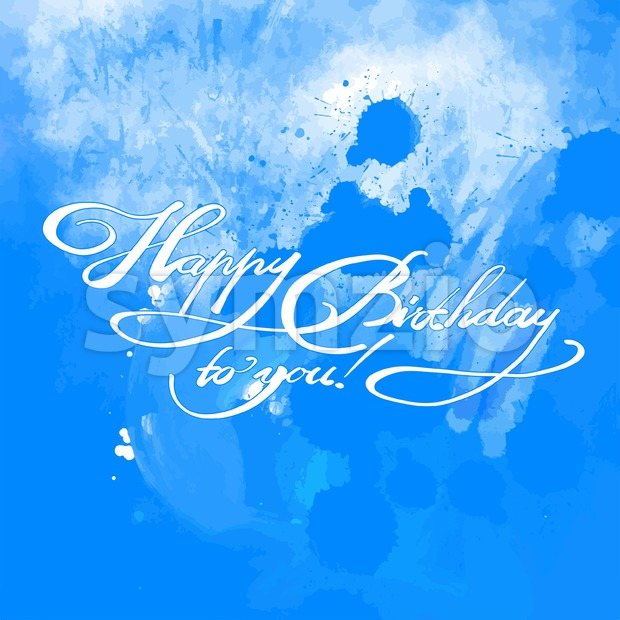 Happy Birthday quote hand lettering. Vector Artwork Concept. Ready for Poster Print and Greeting Card Design on blue background.
