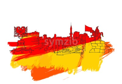 Tirana Albania Colorful Landmark Banner Stock Vector
