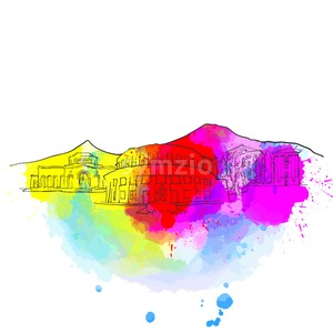 Yerevan Armenia Colorful Landmark Banner Stock Vector