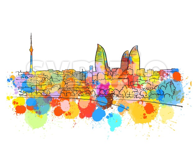Baku Azerbaijan Colorful Landmark Banner Stock Vector