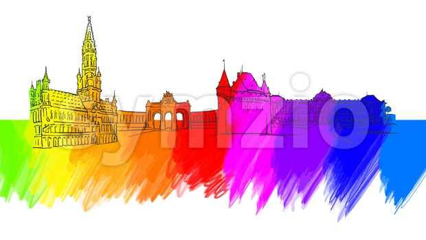 Brussels Belgium Colorful Landmark Banner Stock Vector
