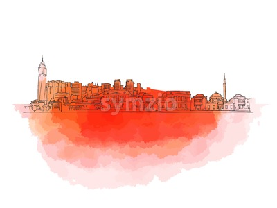 Sarajevo Colorful Landmark Banner Stock Vector