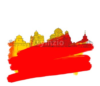 Sofia Bulgaria Colorful Landmark Banner Stock Vector