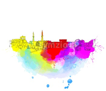 Nicosia Cyprus Colorful Landmark Banner Stock Vector