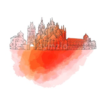 Prague Czech Republic Colorful Landmark Banner Stock Vector