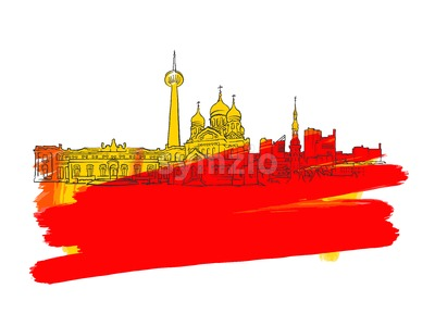 Tallinn Estonia Colorful Landmark Banner Stock Vector