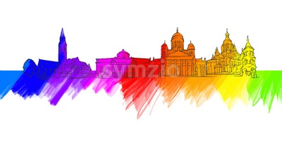 Helsinki Finland Colorful Landmark Banner Stock Vector