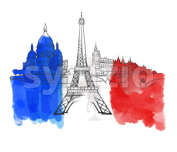 Paris France Colorful Landmark Banner Stock Vector
