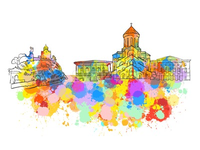 Tbilisi Georgia Colorful Landmark Banner Stock Vector